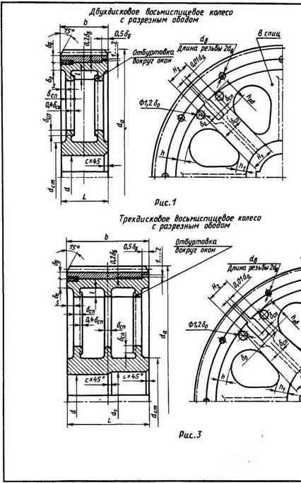 Конструкции цилиндрических бандажированных литых зубчатых колес