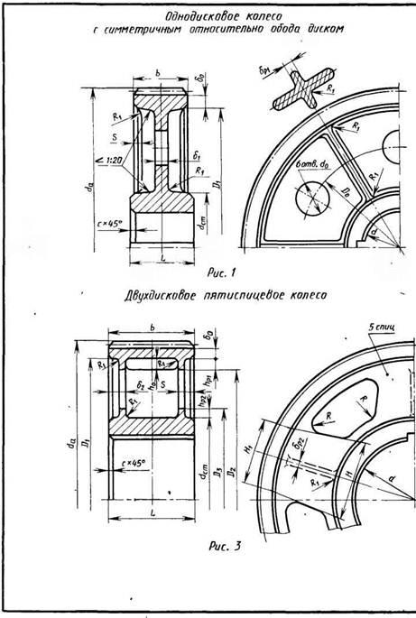 Конструкции цилиндрических литых зубчатых колес