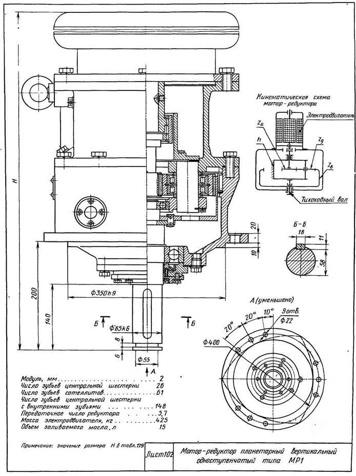 Мотор-редукторы планетарные вертикальные одноступенчатые типа МР1