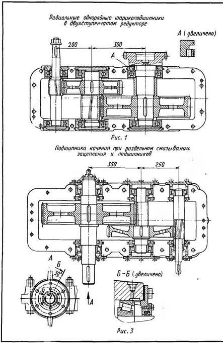 Установка подшипников качения в редукторах с цилиндрическими прямозубыми зубчатыми колесами