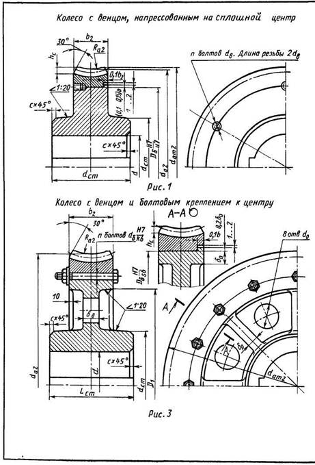 Конструкции глобоидных червячных зубчатых колес