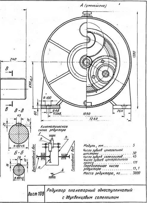 Редукторы планетарные одноступенчатые