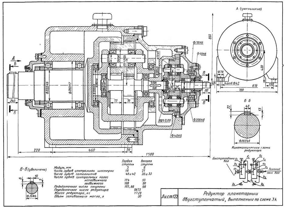 Редукторы планетарные, выполненные по схеме 3К