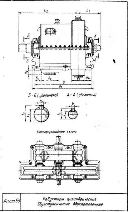 Редукторы цилиндрические двухступенчатые двухпоточные