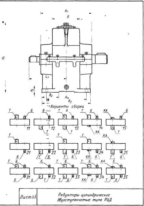 Редукторы цилиндрические двухступенчатые с масляной ванной