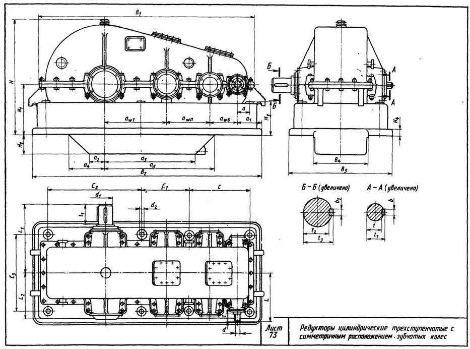 Редукторы цилиндрические трехступенчатые с симметричным расположением колес